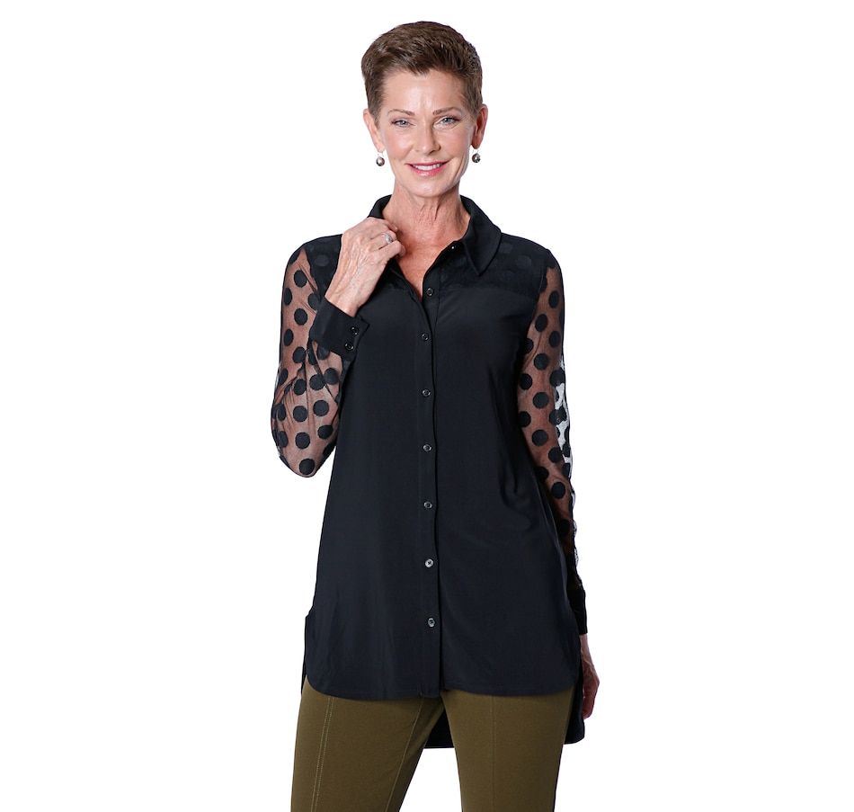 Image 409243_BLK.jpg , Product 409-243 / Price $69.99 , Nina Leonard High Low Hem Long Sleeve Shirt with Dot Mesh Yoke & Unlined Sleeve from Nina Leonard on TSC.ca's Fashion department
