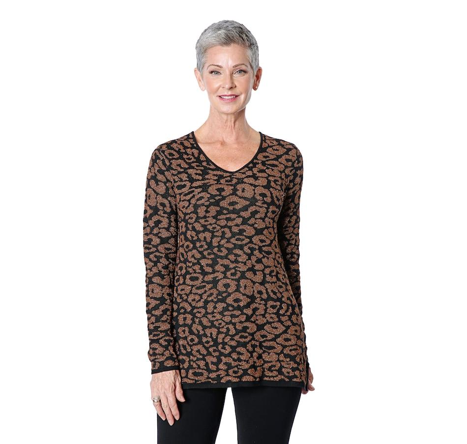 Image 409255_BBZ.jpg , Product 409-255 / Price $39.33 , Nina Leonard V-Neck Long Lurex Sweater from Nina Leonard on TSC.ca's Fashion department