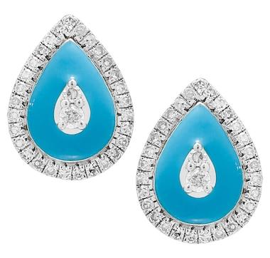 LUXLE Jewellery 14K White Gold Diamond Pear Earrings with Enamel