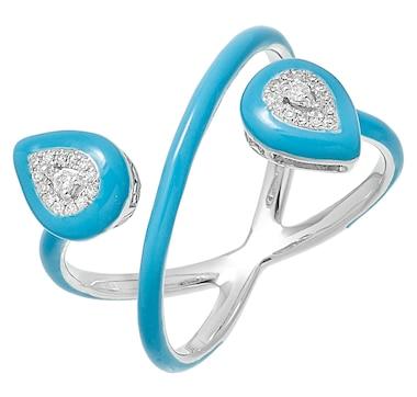 LUXLE Jewellery 14K White Gold Diamond Pear Ring with Enamel