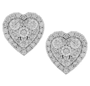 Inspire Diamonds 14K White Gold 1.51ctw Diamond Heart Earrings