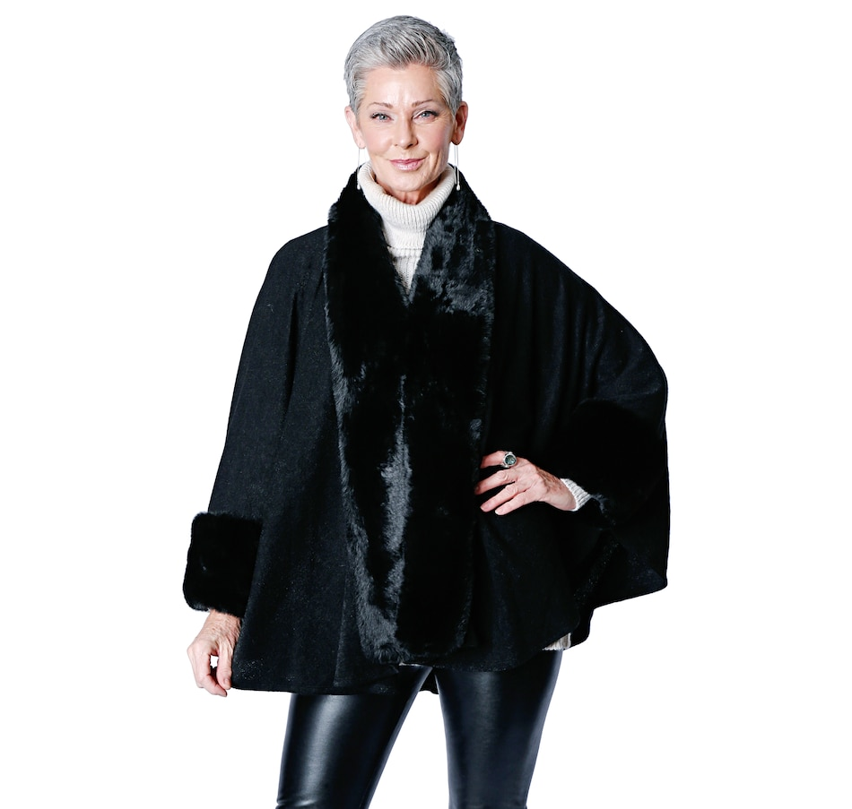 Image 443436_BLK.jpg , Product 443-436 / Price $99.88 , Heidi Daus Sweater Knit Poncho with Faux Fur Trim from Heidi Daus on TSC.ca's Fashion department