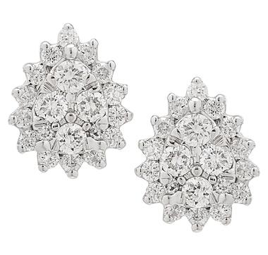 14K White Gold 0.25ctw Diamond Pear Shaped Cluster Earrings