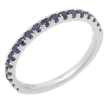 14K White Gold Blue Sapphire Band