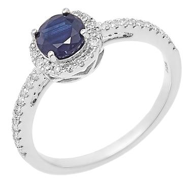 14K White Gold Diamond & Blue Sapphire Halo Ring