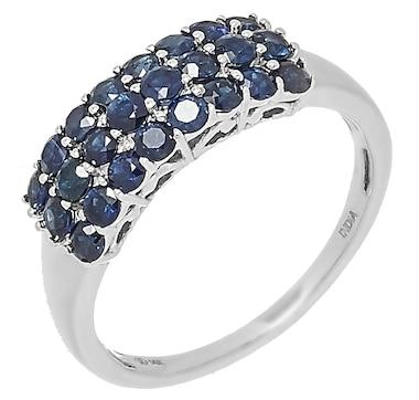 14K White Gold 2.20mm Round Blue Sapphire Ring
