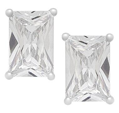 Deborah Freund Designs Sterling Silver 6x4mm Emerald Cut Cubic Zirconia Stud Earrings