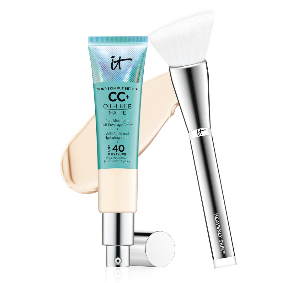 Image 447760_FIY.jpg , Product 447-760 / Price $76.70 , IT Cosmetics Oil Free Matte CC+ Cream with SPF and Heavenly Skin Brush from It Cosmetics on TSC.ca's Beauty department