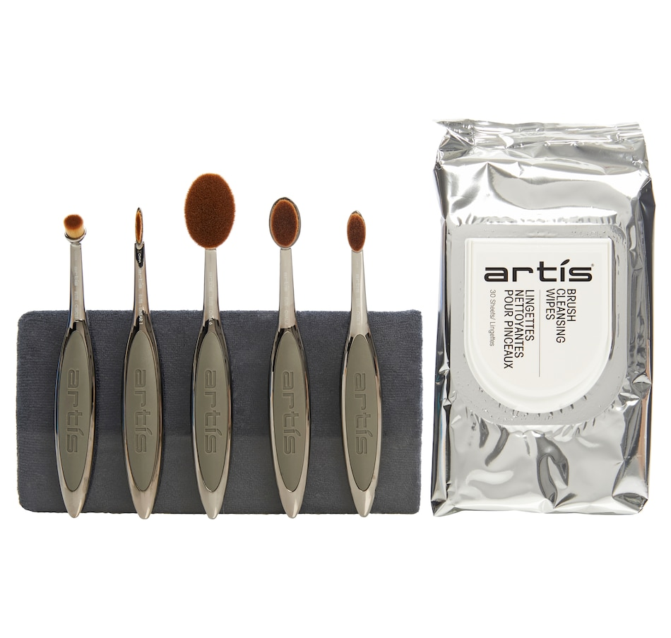 Image 448945.jpg , Product 448-945 / Price $210.00 , Artis Elite Smoke 5-Brush Set with Brush Cleansing Wipes & Cleaning Pad from Artis on TSC.ca's Beauty department