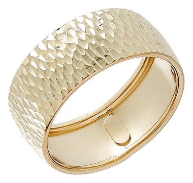 International Gold 10K Yellow Gold Diamond Cut Wide Band Ring