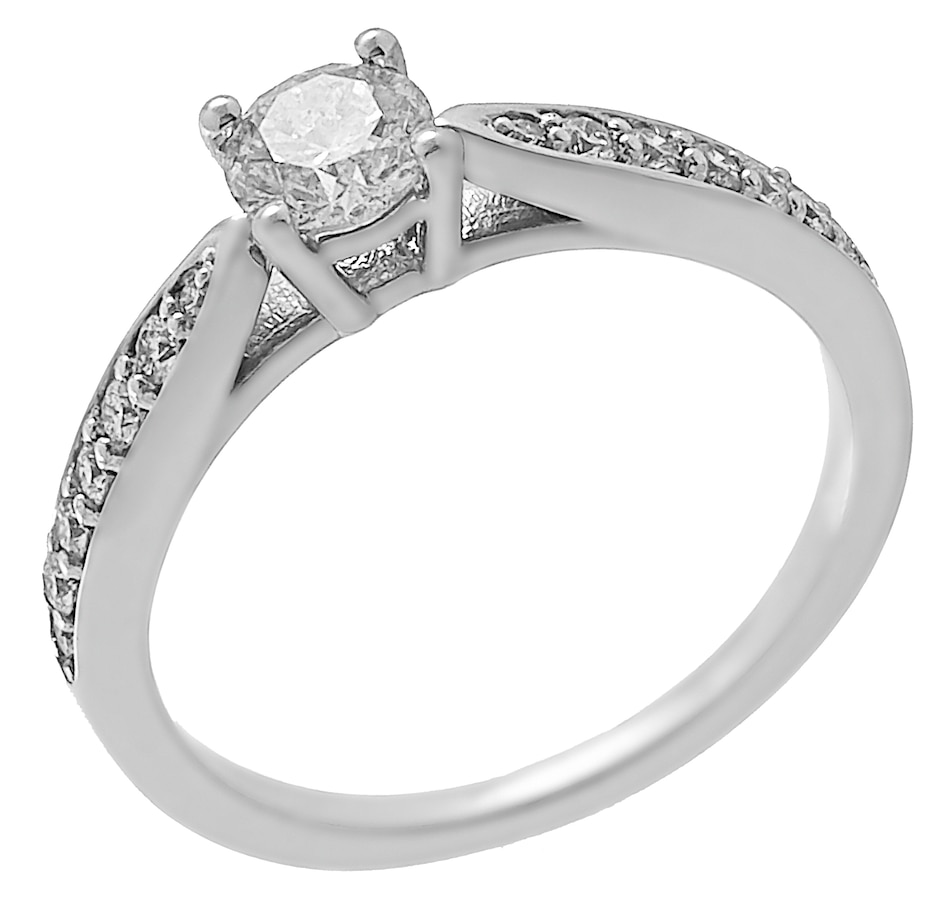 Image 450094.jpg , Product 450-094 / Price $3,499.99 , 14K White Gold 0.71ctw Diamond Solitaire Pinched Ring from Diamond Show on TSC.ca's Jewellery department