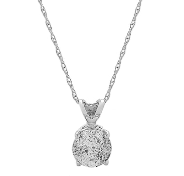 14K White Gold Diamond Solitaire Pendant with Chain