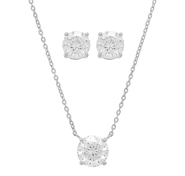 Deborah Freund Design Sterling Silver Round Cubic Zirconia Pendant with Chain & Earrings Set