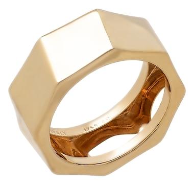 Stefano Oro 14K Yellow Gold Octagonal Bold Cigar Band Ring