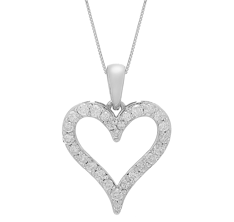 Image 451073_WGL.jpg , Product 451-073 / Price $1,399.99 , 14K Gold 1.00ctw Diamond Heart Pendant with Chain from Diamond Show on TSC.ca's Jewellery department