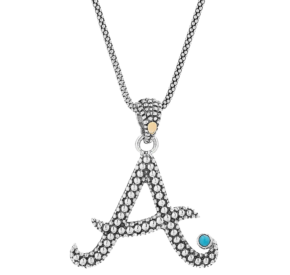 Image 451105_A.jpg , Product 451-105 / Price $135.00 , Samuel B. Collection Sterling Silver and 18K Initial Pendant with Sleeping Beauty Turquoise on Chain from Samuel B. Collection on TSC.ca's Jewellery department