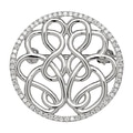 Hope-Knot 14K White Gold Hand Crafted Hope-Knot Pin with Diamond Border