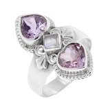 Himalayan Gems Sterling Silver Amethyst & Rainbow Moonstone Ring