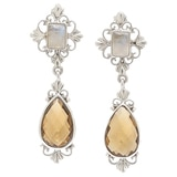 Himalayan Gems Sterling Silver Cognac Quartz & Rainbow Moonstone Earrings