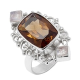 Himalayan Gems Sterling Silver Cognac Quartz & Rainbow Moonstone Ring