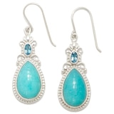Himalayan Gems Sterling Silver Amazonite & Blue Topaz Earrings