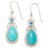 Himalayan Gems Sterling Silver Amazonite & Blue Topaz Earrings