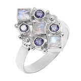 Himalayan Gems Sterling Silver Rainbow Moonstone & Iolite Ring
