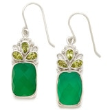 Himalayan Gems Sterling Silver Green Onyx & Peridot Drop Earrings