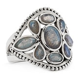 Himalayan Gems Sterling Silver Gemstone Multi-Shape Ring