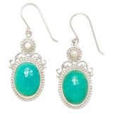 Himalayan Gems Sterling Silver Turquoise & Freshwater Pearl Earrings