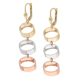 10K Tricolour Gold Triple Drop Dangle Earrings