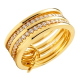 Toscana Diamonelle Sterling Silver 14K Yellow Gold Plate Multi Ring Diamonelle Ring