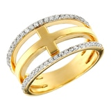 Toscana Diamonelle Sterling Silver 14K Yellow Gold Plate Horizontal Cross Diamonelle Ring