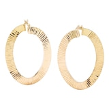 Sterling Silver Two Textured Brillante Fancy Hoop Earrings