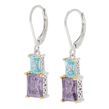 TYCOON for Diamonelle Sterling Silver Two Tone Dangle Earrings