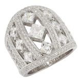 TYCOON for Diamonelle Sterling Silver Multi Shape Dome Ring