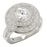 TYCOON for Diamonelle Sterling Silver Channel Set Baguette Round Ring