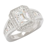 TYCOON for Diamonelle Sterling Silver Straight Baguette Halo Ring