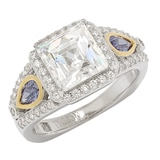 TYCOON for Diamonelle Sterling Silver Simulated Tanzanite Two Tone Royal Ring
