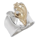 Hagit Sterling Silver and 14K Gold Diamond Ring