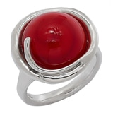 Hagit Sterling Silver Red Glass Bead Ring