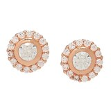 Caroline Creba Diamonelle Sterling Silver Rose Gold Plate Classic Solitaire Stud Earrings