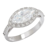 Caroline Creba Diamonelle Sterling Silver Rhodium Plate Fancy Marquise Ring