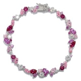 Diamonelle Sterling Silver Simulated Gemstone Cluster Bracelet