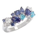 Diamonelle Sterling Silver Simulated Gemstone Cluster Ring