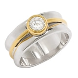 Diamonelle Sterling Silver 2-Tone Bezel set Solitaire Ring