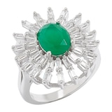 Red Carpet Diamonelle Sterling Silver Simulated Emerald Ring