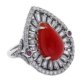 Jade of Yesteryear Sterling Silver Red Jade & Ruby Ring