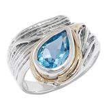 Hagit Sterling Silver 14K Yellow Gold Gemstone Ring