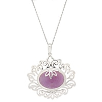 Himalayan Gems Sterling Silver Umba Sapphire Lotus Flower Pendant with Chain